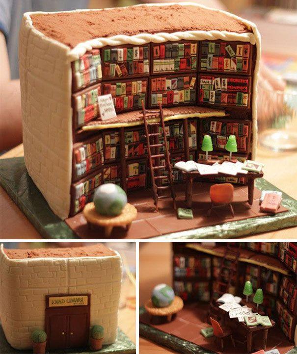 Deze taart ziet er te goed uit om op te eten.. Maar wel een leuk idee, maak een boekentaart voor een boekenfan!