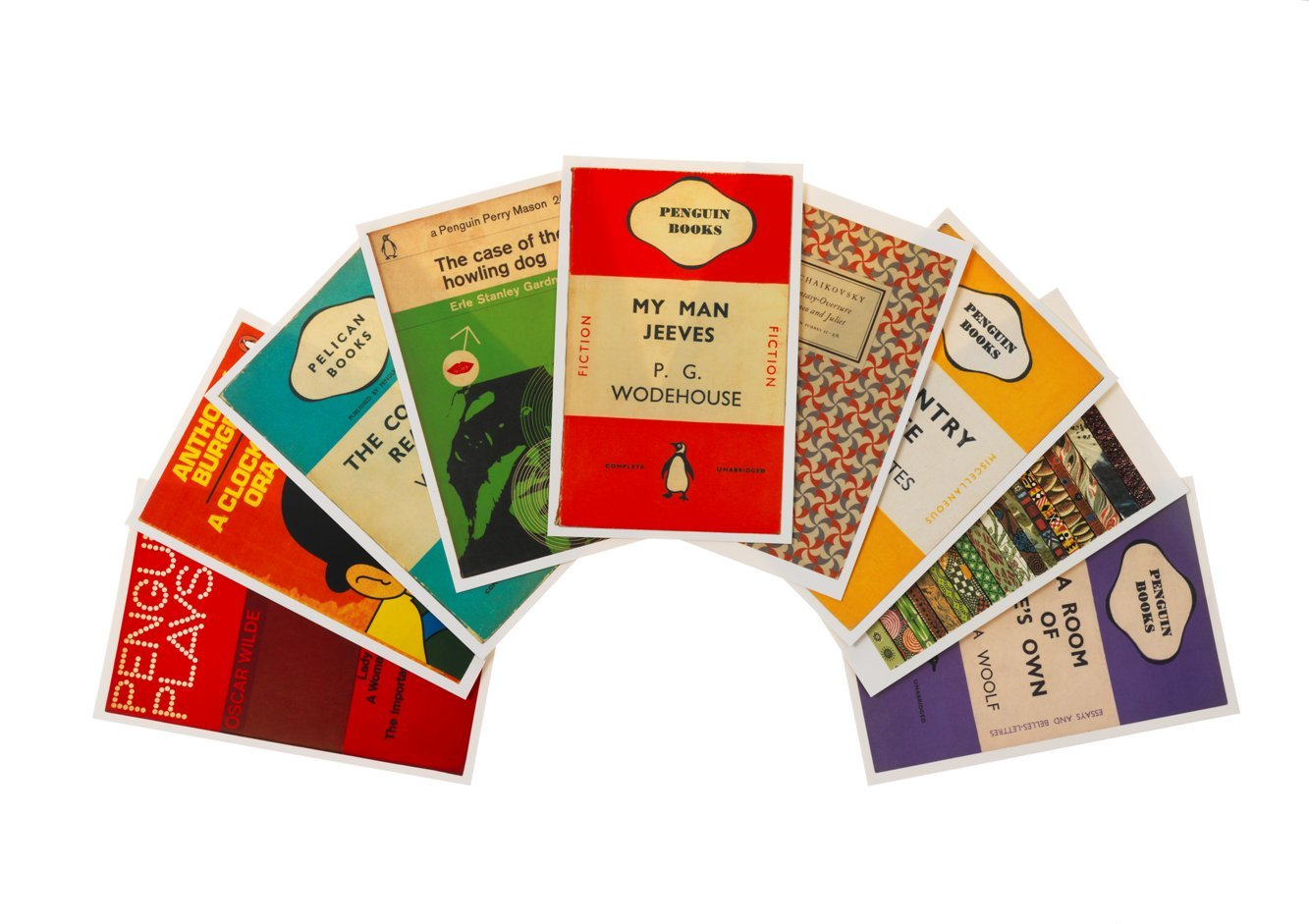 Verstuur jij nog wel eens ansichtkaarten? En is de ontvanger een boekenfan? Dan weet hij of zij deze mooie Penguin-kaarten vast te waarderen!