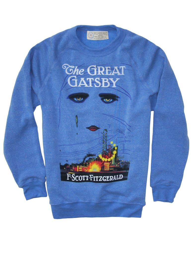 Maak indruk met deze stijlvolle blauwe sweater met de cover van The Great Gatsby.