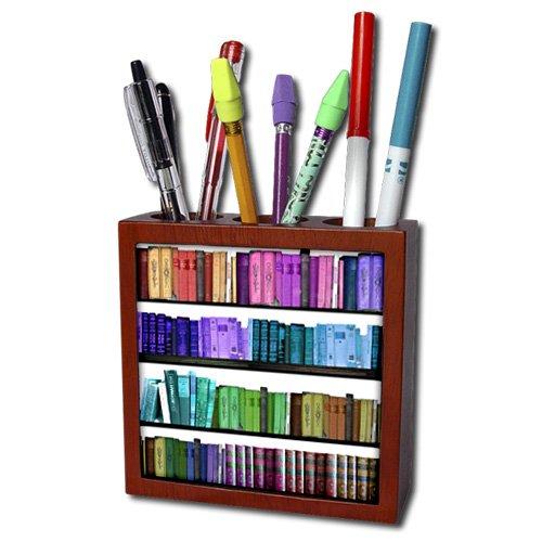 Leuk voor op je bureau, deze pennenhouder in de vorm van een boekenkast!